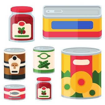 Collection de diverses boîtes de conserve de produits alimentaires en métal et en verre contenant illustration.