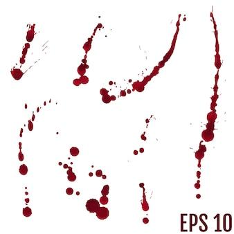 Collection de diverses éclaboussures de sang ou de peinture