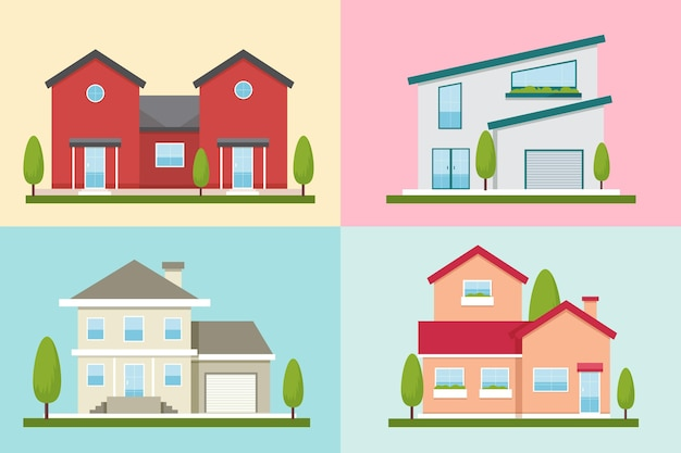 Collection de diverses maisons modernes