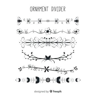 Collection de diviseur d'ornement dessiné belle main