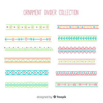 Collection de diviseur d'ornement dessiné main coloré