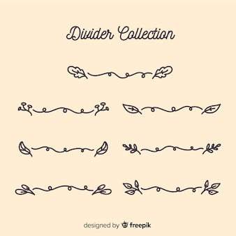 Collection de diviseur d'ornement dessiné à la main
