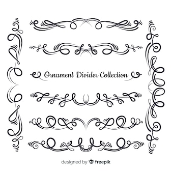 Collection de diviseur d'ornement dessiné à la main