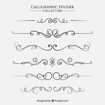 Collection de diviseurs dans le style calligraphique