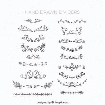 Collection de diviseurs dans un style dessiné à la main