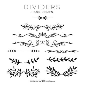 Collection de diviseurs avec des éléments floraux