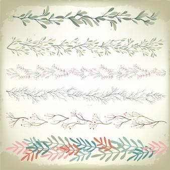 Collection de diviseurs de guirlandes florales romantiques vintage. fond de vecteur de mariage