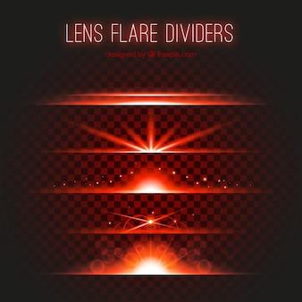 Collection de diviseurs de lumière rouge