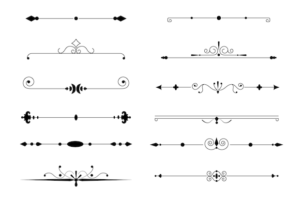 Collection de diviseurs ornementaux calligraphiques