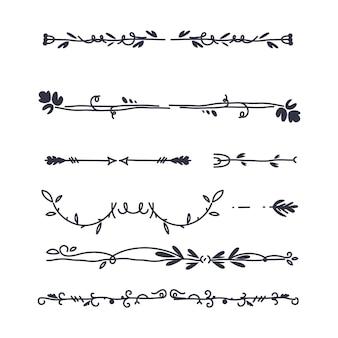 Collection de diviseurs ornementaux dessinés à la main