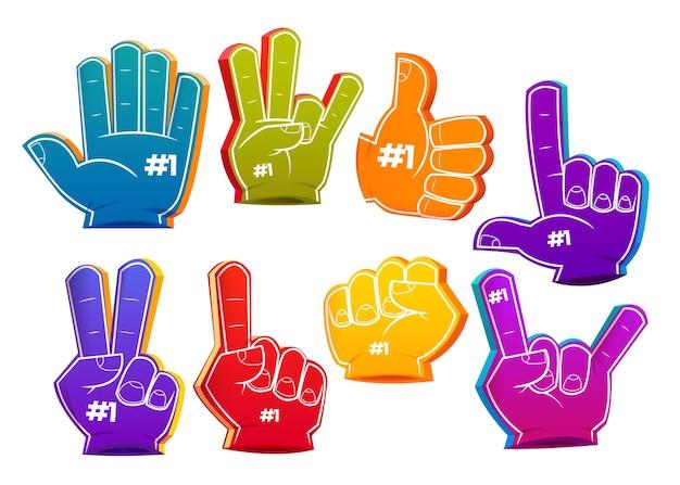 Collection de doigts en mousse de sport de dessin animé