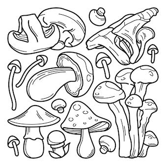 Collection de doodle aux champignons