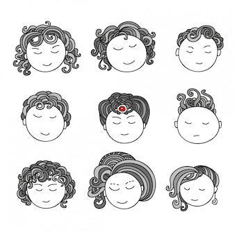 Collection doodle d'avatars. éléments de conception artistique. illustration isolée sur fond.
