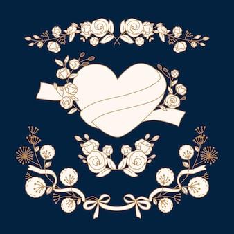 Collection de doodle coeur et floral