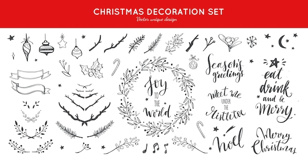 Collection de doodle de décoration de noël pour cartes de noël