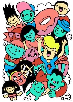 Collection de doodle de dessin animé enfant heureux, dessiné à la main
