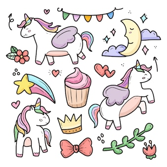 Collection de doodle dessin licorne