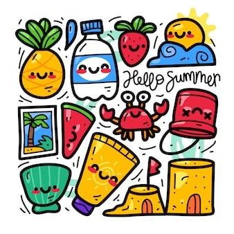 Collection doodle d'éléments d'été