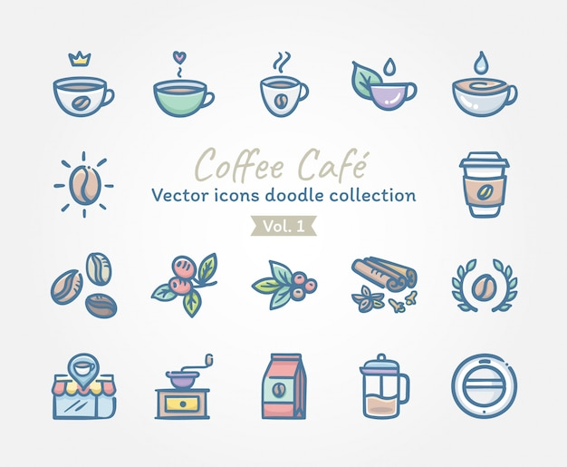 Collection de doodle d'icônes vectorielles café café