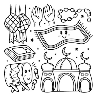 Collection de doodle islamique