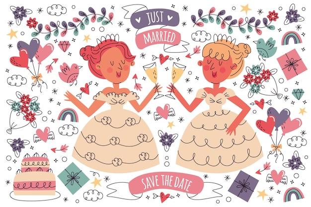 Collection de doodle de mariage dessinés à la main