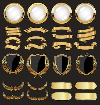 Une collection dorée de divers badges et étiquettes