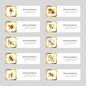 Collection dorée d'icônes de médias sociaux avec carré