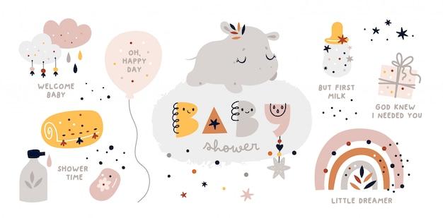 Collection de douche de bébé avec caractère hippopotame