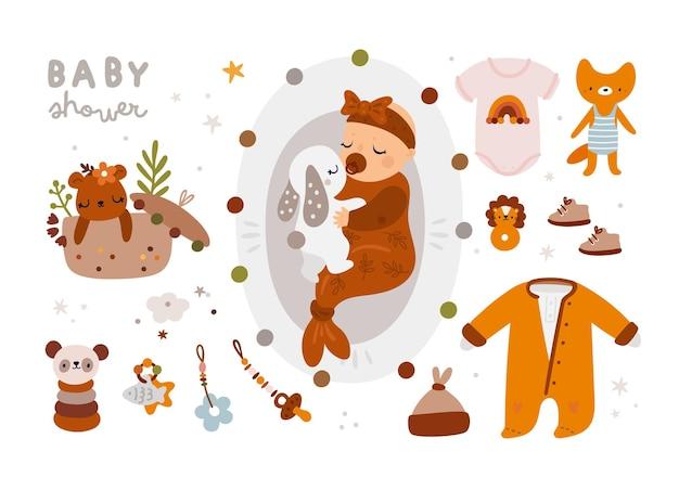 Collection de douche de bébé dans un style bohème