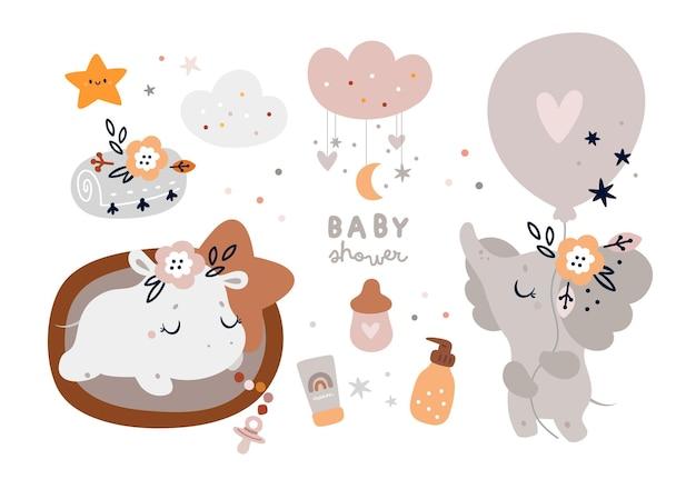 Collection de douche de bébé avec de jolis personnages d'éléphants et d'hippopotames dans un style bohème