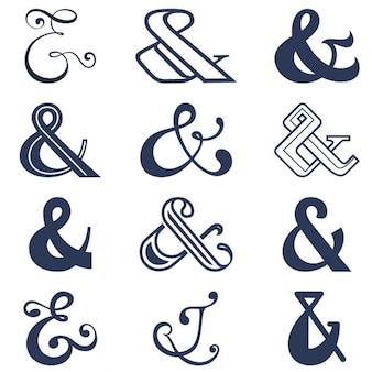 Collection de douze esperluette signe conçoit vector illustration