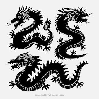 Collection de dragons en couleur noire