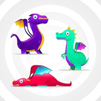 Collection de dragons dans le style dégradé