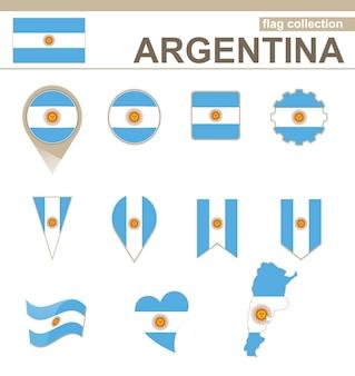 Collection Drapeau Argentine, 12 Versions Vecteur Premium