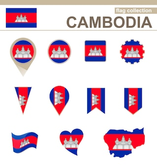 Collection drapeau cambodge, 12 versions