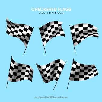 Collection de drapeau à damier de course avec un design réaliste