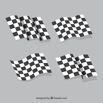 Collection de drapeau à damier avec un design plat