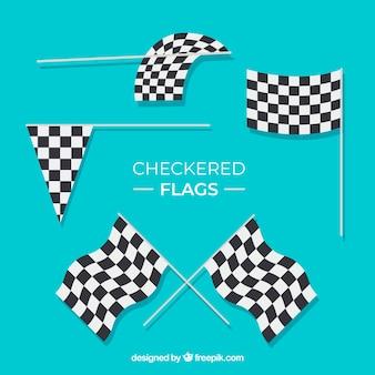 Collection de drapeau à damiers de course avec un design plat
