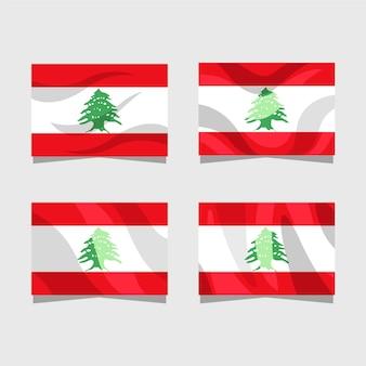 Collection de drapeau libanais design plat