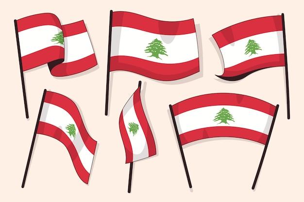 Collection de drapeau libanais plat