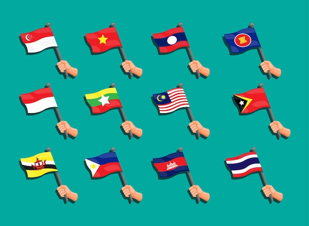 Collection de drapeaux de l'asean