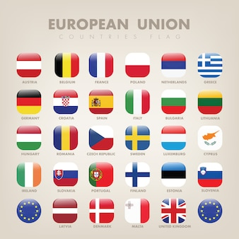 Collection de drapeaux carrés de l'union européenne