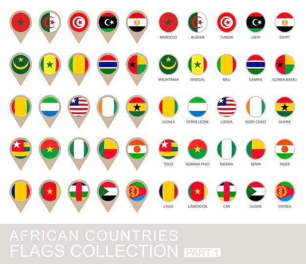 Collection de drapeaux des pays africains, partie 1, version 2