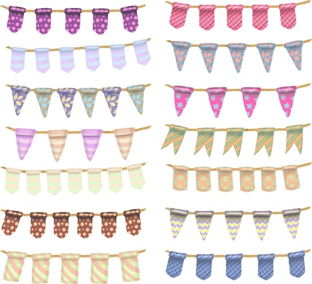 Collection de drapeaux suspendus de couleur dessinés à la main