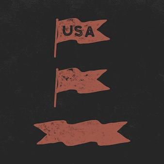Collection de drapeaux vintage dessinés à la main. usa et modèle de ruban vierge.