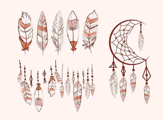 Collection de dream catcher avec des plumes
