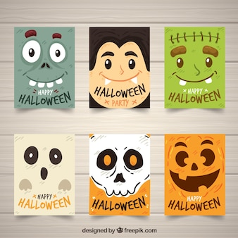 Collection drôle de cartes halloween