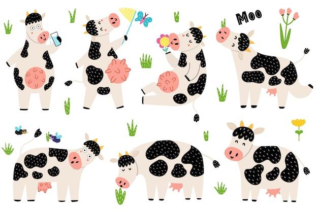 Collection drôle de vaches noires et blanches. les personnages de vache sont assis, debout, mangent, meuglent. animaux de ferme mignons pour la conception des enfants. illustration