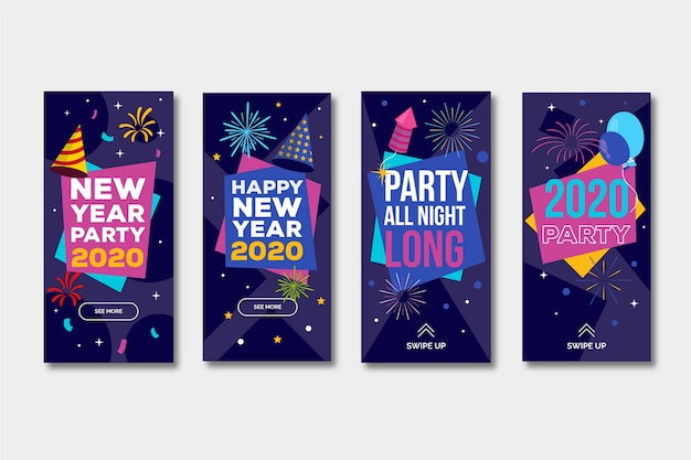 Collection du récit instagram de la fête du nouvel an 2020