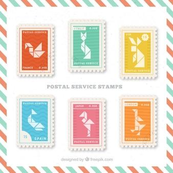 Collection du service timbre postal avec des formes animales origami
